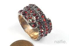 ANTIQUE GOLD SILVER BOHEMIAN GARNET & DIAMOND COILED SNAKE RING c1800s N/RES in Jewelry & Watches, Vintage & Antique Jewelry, Fine | eBay
