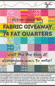 Still time to enter the giveaway for lots of Alison Glass fabric! Visit the blog to enter: http://alisonglass.com/blog/2013/09/blog-tour-part-4-corsage-bike-path-x/
