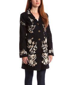 Look at this #zulilyfind! Black & Cream Floral Embroidered Button-Up Coat by PAPARAZZI #zulilyfinds