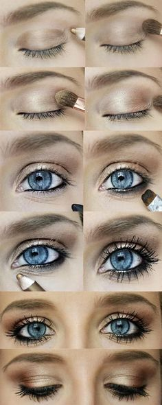 gold-bronze eye makeup. perfect for the baby blues