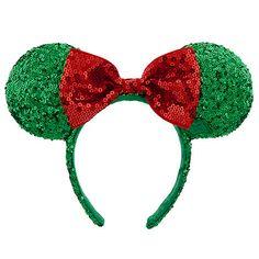 $19.95 Holiday Minnie Mouse Ear Headband with Bow   Ear Hats   Disney Store
