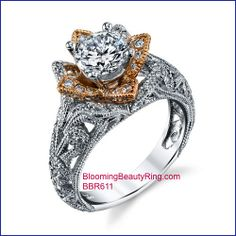 http://www.BloomingBeautyRing.com #NewestToArrive  #BloomingRose collection engagement ring item #BBR611 #2ToneGold including #RoseGold flower petals over #18kWhiteGold
