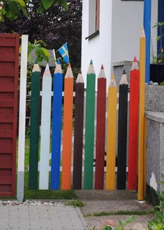 Colorful gate. This is so creative!