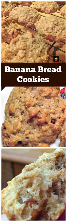 Banana Bread Cookies Yep banana bread in a cookie! Easy and flexible recipe Great for snacks, breakfast, lunch boxes or anytime! Lovefoodies com is part of Banana bread cookies - Cookie Desserts, Just Desserts, Cookie Recipes, Delicious Desserts, Yummy Food, Fun Recipes, Healthy Desserts, Banana Bread Cookies, Chip Cookies