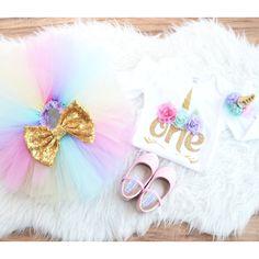 Unicorn First Birthday Outfit, extra fluffy unicorn tutu for first birthday 100% nylon, Unicorn party theme, unicorn baby dress, Unicorn set by GabyRobbinsDesigns on Etsy