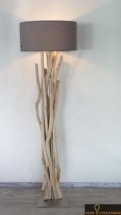 Houten vloerlamp 2 met houten voet zonder kap | Houten Lampen