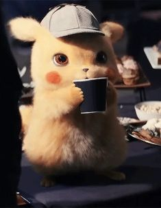 corsolanite: Nothing better than a hard working detective enjoying his cup of Cute Pokemon Wallpaper, Cute Disney Wallpaper, Cute Cartoon Wallpapers, Pikachu Drawing, Pikachu Art, Pichu Pokemon, Pikachu Memes, Pokemon Realistic, Pokemon Movies