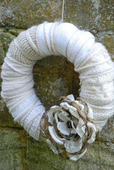 Woolen Wreath. Autumn or Winter Decoration. Home by thewhitebench, $30.00