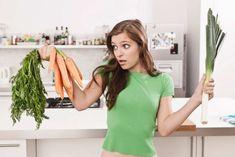 Woman confused between carrot and leek