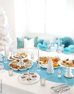 Christmas Holidays Cocktail and Appetizers Recipes, decor and party ideas in blue and silver!