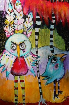 12 x 36 on wood  Funky Bird Family She Did It  original by JodiOhl
