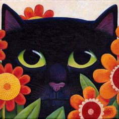 by Vicky Mount - Black cat with flowers