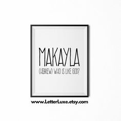 Makayla Name Meaning Art  Printable Baby by LetterLuxePrintables