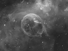 NGC 7635: The Bubble     A fierce stellar wind and intense radiation from the star, which likely has a mass 10 to 20 times that of the Sun, has blasted out the structure of glowing gas against denser material in a surrounding molecular cloud. The intriguing Bubble Nebula lies a mere 11,000 light-years away toward the boastful constellation Cassiopeia.