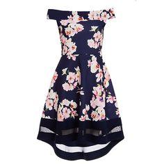 Quiz Cream and Pink Floral Dip Hem Dress   Debenhams