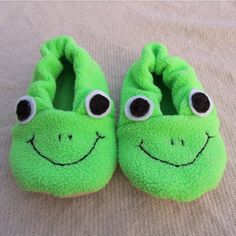 Frog slippers sewing pattern.  So fun!