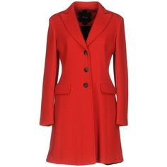 Mouche Coat (€415) ❤ liked on Polyvore featuring outerwear, coats, red, red coat, collar coat, lapel coats, single-breasted trench coats and long sleeve coat