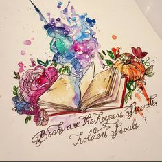 """Books are the keepers of dreams, holders of souls"" for Denya #windsorandnewton #watercolortattoo #watercolourtattoo #books #booksofinstagram #booksarethekeepersofdreams #qoute #galaxy #reading #booktattoo #literarytattoo #lovereading #drawing #ladytattooers #instacute"