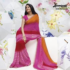 The trio – orange, pink & red colors are  complimentary part of this stunning saree with lining prints.