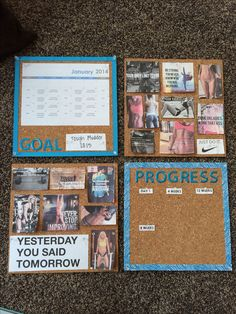 My exercise motivation board!   Has a very nice and clean - to the point - look
