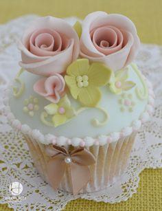 Pretty Pale Pastel Colored Cupcake