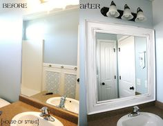 DIY framed mirror...So going to do this in both bath rooms! Love it...