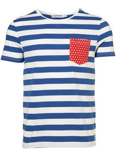 "men tee-shirt - blue stripes - constrating pocket in a red fabric Un tee-shirt homme raffiné et qui ""twist"" un peu"