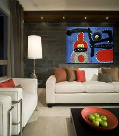 Get a contemporary oil painting to create a highlight for the room.