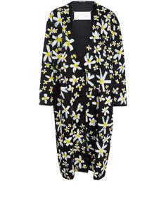Maison Martin Margiela Black Painted Flowers Silk-Blend Coat | Womenswear | Liberty.co.uk