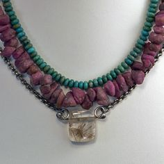 """""""Cleopatra"""" necklace of turquoise and raw rubies with rutilated quartz"""