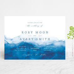 """Watercolor waves"" - Customizable Wedding Invitations in Blue by Yuliya Evseeva. ""Watercolor waves"" - Wedding Invitations in Ocean by Yuliya Evseeva. Minimalist Wedding Invitations, Pocket Wedding Invitations, Wedding Invitation Design, Wedding Stationary, Invitation Wording, Invitation Cards, Ocean Blue Weddings, Save The Date, Watercolor Wave"