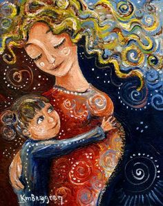 original painting on canvas of pregnant mother and child - Most Precious by kmberggren on Etsy Mother And Child Painting, Painting For Kids, Art And Illustration, Illustrations, Arte Popular, Fabric Painting, Indian Art, Flower Art, Modern Art