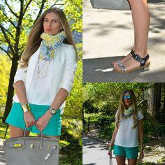 Ann Taylor Shoes, J. Crew Shorts, Hermës Bag, Club Monaco Scarves, Zara Blazer