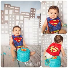 Great idea for baby's b-day! Smash cake photo shoot & superman = PERFECTION