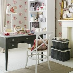 Wohnideen Home Office-pastelltöne shabby-chic