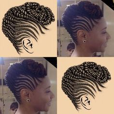 - 10 Easy Natural Hair Winter Protective Hairstyles For Work Without Extensions natural hair cornrow styles Cornrows Natural Hair, Natural Hair Twists, Pelo Natural, Cornrows Updo, African Braids Hairstyles, Protective Hairstyles, Protective Styles, Braided Mohawk Hairstyles, Black Hairstyles