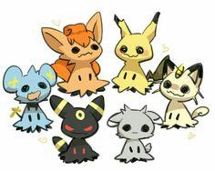 Mimikyu, Vulpix, Pikachu, Meowth, Umbreon, Shinx, Espurr; Pokémon