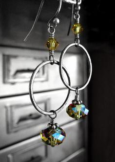 Olive Green Crystal Hoop Earrings Oxidized Sterling by ShySiren