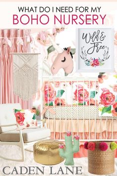 Everything you need for an adorable boho girl nursery - love this idea! <3