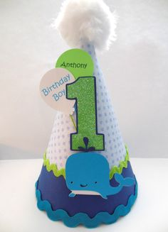 Blue Sea Whale Birthday Party Hat by SandysSpecialtyShop on Etsy Whale Birthday Parties, Baby Boy First Birthday, 1st Boy Birthday, Birthday Ideas, Birthday Hats, Pool Party Themes, Party Ideas, Whale Party, Twins 1st Birthdays