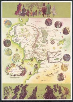 whoa!!! a Map of Middle Earth by Pauline Baines! (most famous for her illustrations for the original printings of the Narnia books)