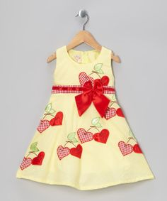 Yellow Cherry Heart A-Line Dress