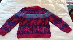 One Of a Kind 100% Wool Sweater Handmade Bolivia SZ L neon colorful Knit ski #OneOfAKIND #Crewneck