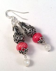 Red Lampwork Glass Earrings with Sterling Silver Components by ASplashOGlass on Etsy