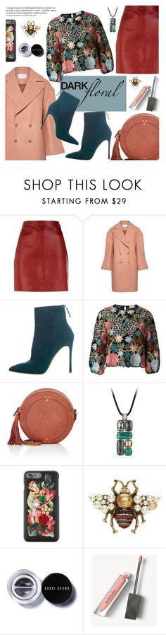 """""""dark floral"""" by freshprincesse ❤ liked on Polyvore featuring Sandro, Carven, Anja, Gianvito Rossi, RED Valentino, Jérôme Dreyfuss, David Yurman, Dolce&Gabbana, Gucci and Bobbi Brown Cosmetics"""