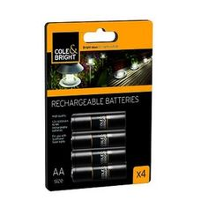Rechargeable Batteries | AA & AAA Rechargeable Batteries Cole and Bright 4 pack of rechargeable batteries. Available in both AA and AAA sizes. 1.2V 600mAH