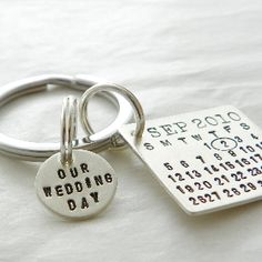 Great gift for the groom...Mark Your Calendar™ Our Wedding Day Keychain