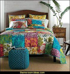 Colorful Flower Power Party Patchwork Quilt Set- splash some tropical color! #BarbsBeachHouse