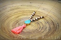 Gorgeous Long Gold Chain and Beaded Necklace with Turquoise Druzy Pendant and Bright Coral String Tassel love lee austin tx www.LoveLeeAustin.etsy.com boho bohemian spring summer jewelry long necklace wedding bridesmaid hippie fashion gem gemstone