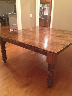 x Square Baluster Table with a jointed top stained in Vintage Dark Walnut with a Semi-Gloss Sheen. Diy Dining Table, Square Dining Tables, Dining Room, Farm Tables, Dark Walnut Stain, Particle Board, Farmhouse Table, Barn Doors, Hardwood